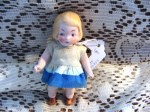 4 inch bisque doll blue white dress b