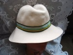 BEIGE HAT GREEN RIBBON FRONT MAIN